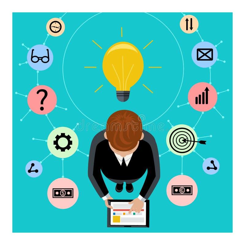 Бизнесмен держит цифровую таблетку бесплатная иллюстрация