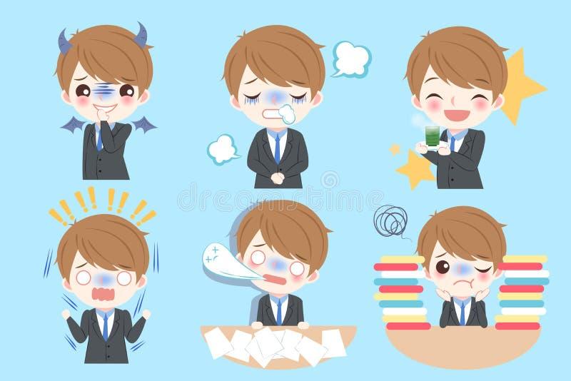 Бизнесмен делает различную эмоцию бесплатная иллюстрация