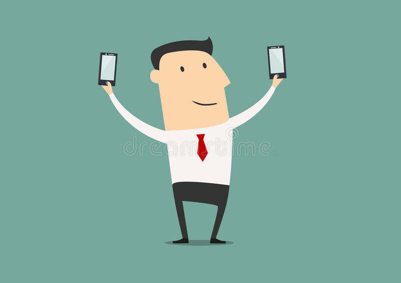 Бизнесмен делает съемку 2 selfie бесплатная иллюстрация