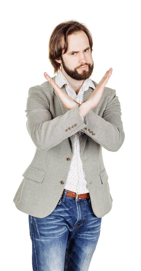 Бизнесмен делая знак стопа с рукой эмоции и люди conc стоковые фотографии rf