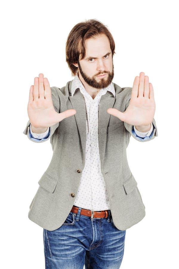 Бизнесмен делая знак стопа с рукой эмоции и люди conc стоковое фото rf