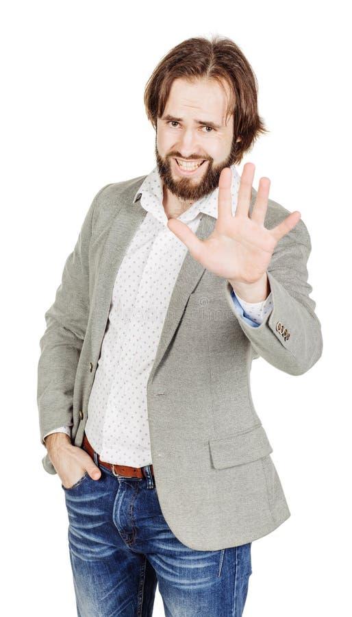 Бизнесмен делая знак стопа с рукой эмоции и люди conc стоковое фото