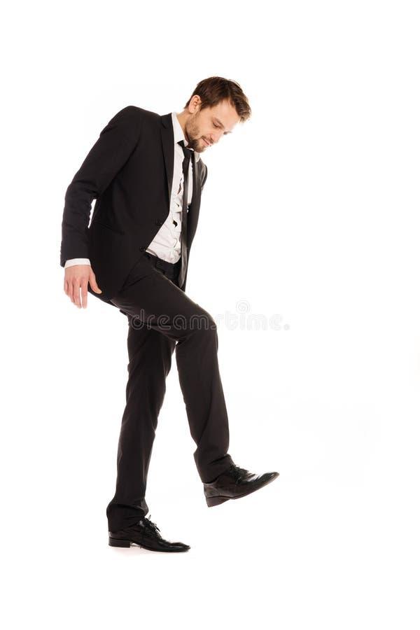 Бизнесмен делая штемпелюя жест стоковое изображение rf
