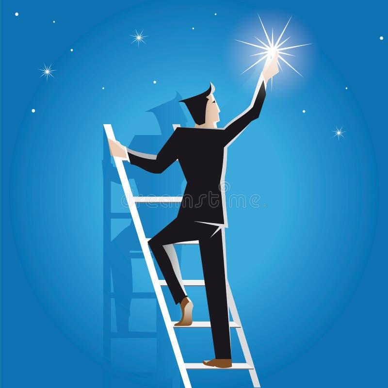 Бизнесмен завоевать на лестнице к звездам иллюстрация вектора