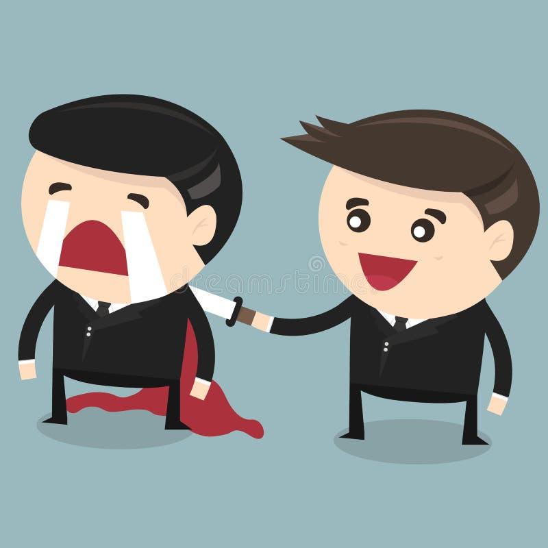 Бизнесмен заколол его друга в заднем, плоском дизайне бесплатная иллюстрация