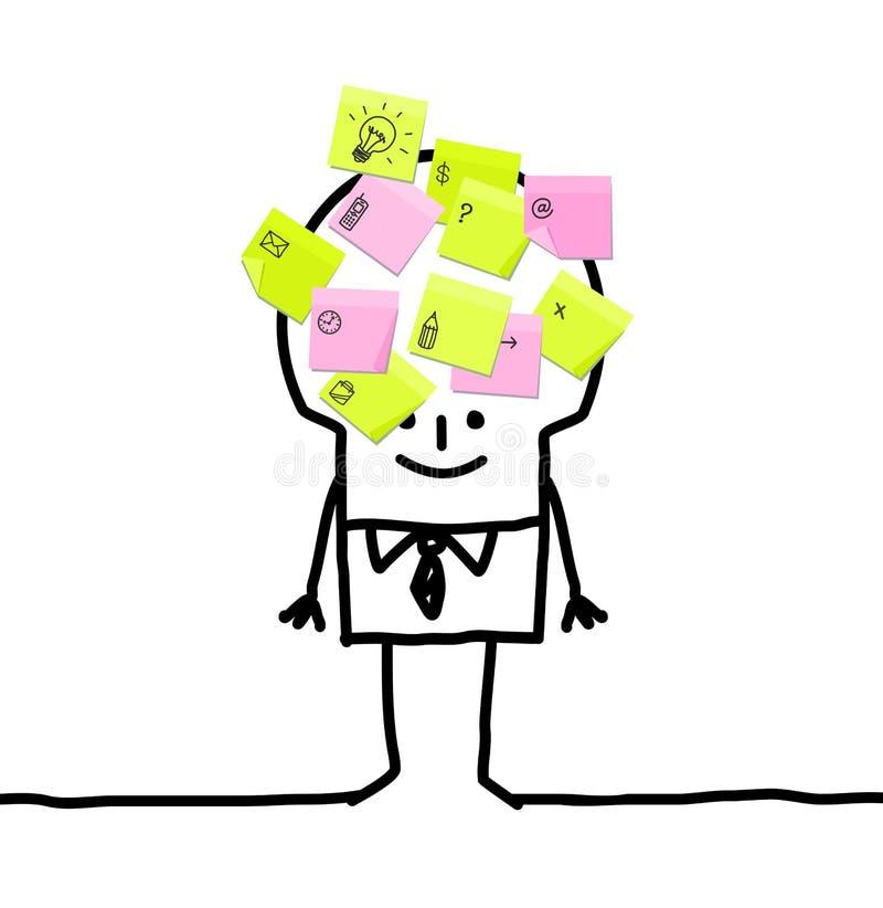 бизнесмен замечает липкое иллюстрация вектора