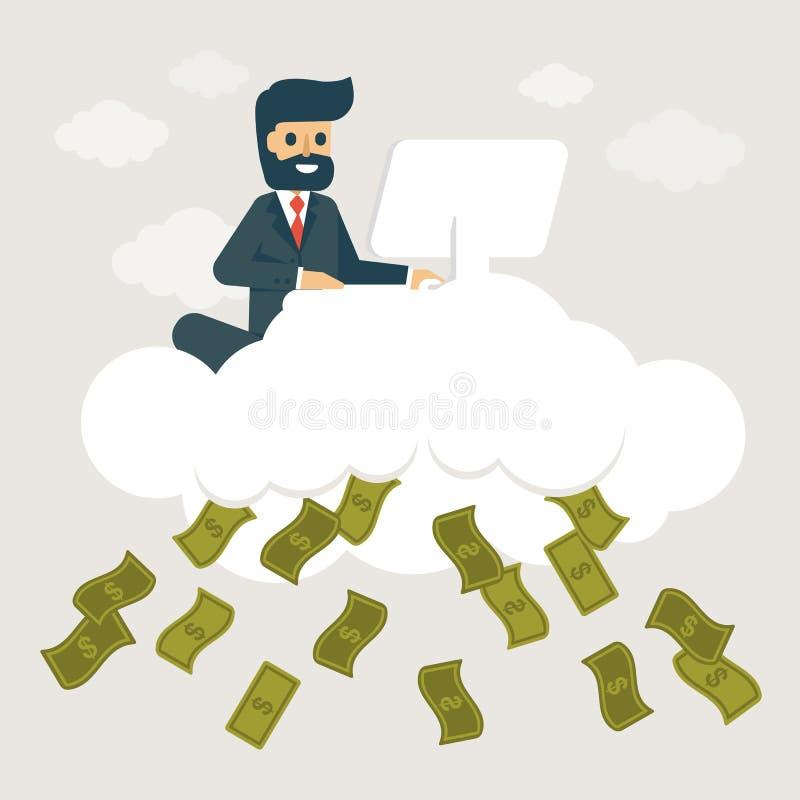 Бизнесмен зарабатывает деньги на облаке бесплатная иллюстрация