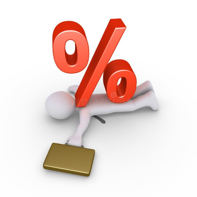 Бизнесмен задавленный символом процентов иллюстрация вектора