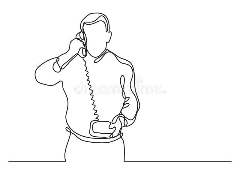 Бизнесмен звоня телефонный звонок - непрерывная линия чертеж иллюстрация вектора