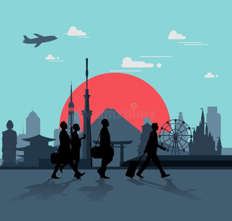 Бизнесмен идет для путешествовать в Японии бесплатная иллюстрация