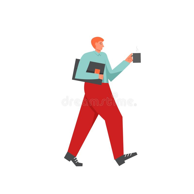 Бизнесмен идя работать, иллюстрация дизайна стиля вектора плоская иллюстрация вектора