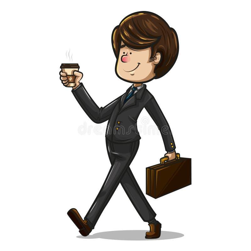 Бизнесмен идя с его портфелем и чашкой кофе бесплатная иллюстрация