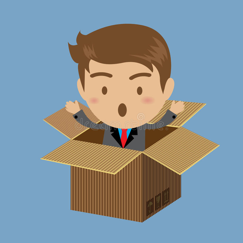 Бизнесмен из коробки иллюстрация штока