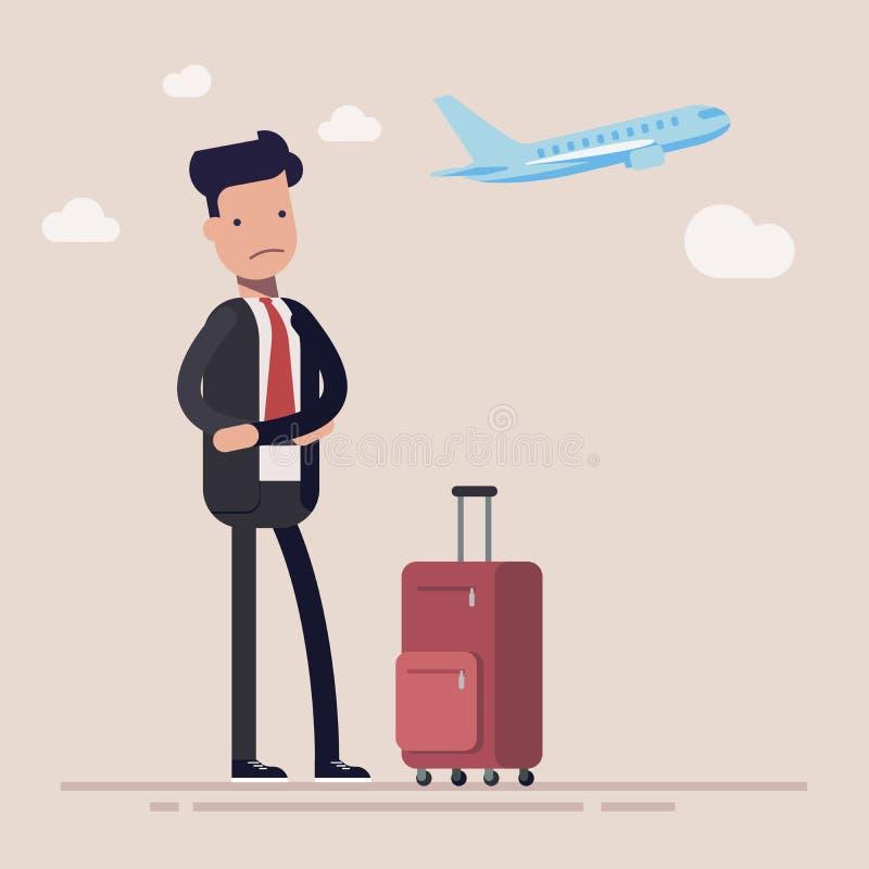 Бизнесмен или менеджер опоздали к самолету Человек был очень расстроен о быть последним для самолета Иллюстрация вектора в шарже иллюстрация штока
