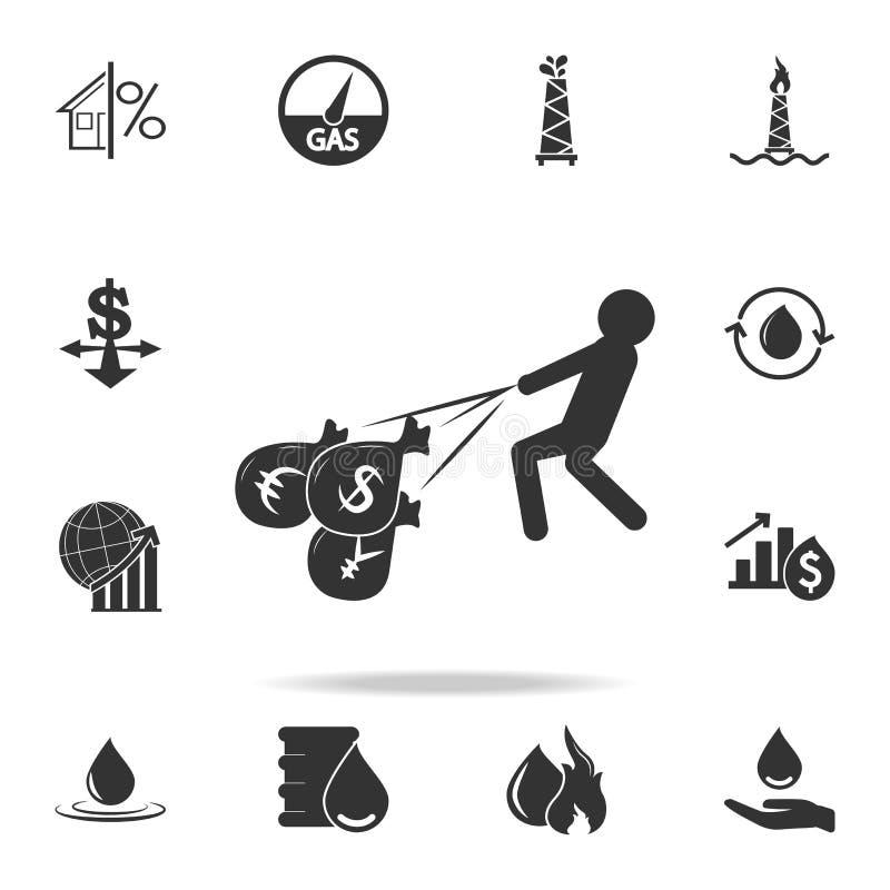 Бизнесмен или менеджер приходят с сумкой значка долларов денег Детальный комплект значков элемента финансов, банка и выгоды награ иллюстрация вектора