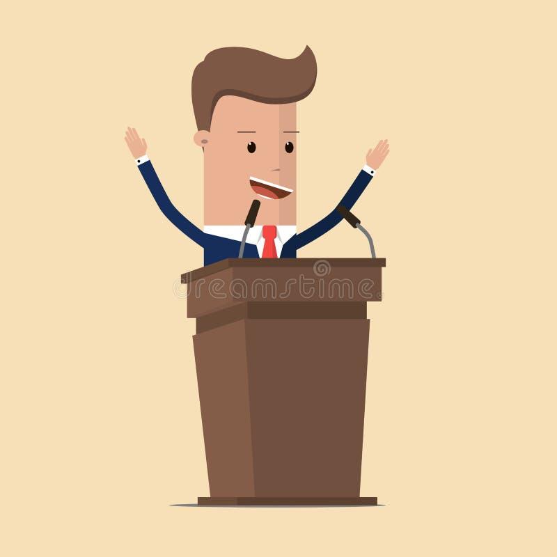 Бизнесмен или политик в костюме на трибуне при микрофоны делая речь Оратор или повествователь, представитель или руководитель на  иллюстрация штока