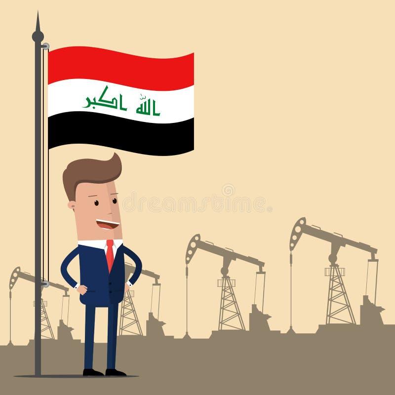 Бизнесмен или политик под флагом Ирака против фона масляных насосов также вектор иллюстрации притяжки corel бесплатная иллюстрация