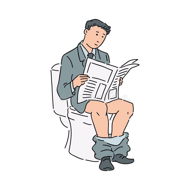 Бизнесмен или работник офиса в официальном костюме читая газету в уборной иллюстрация вектора