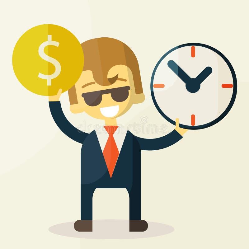 Бизнесмен имеет деньги и часы иллюстрация штока