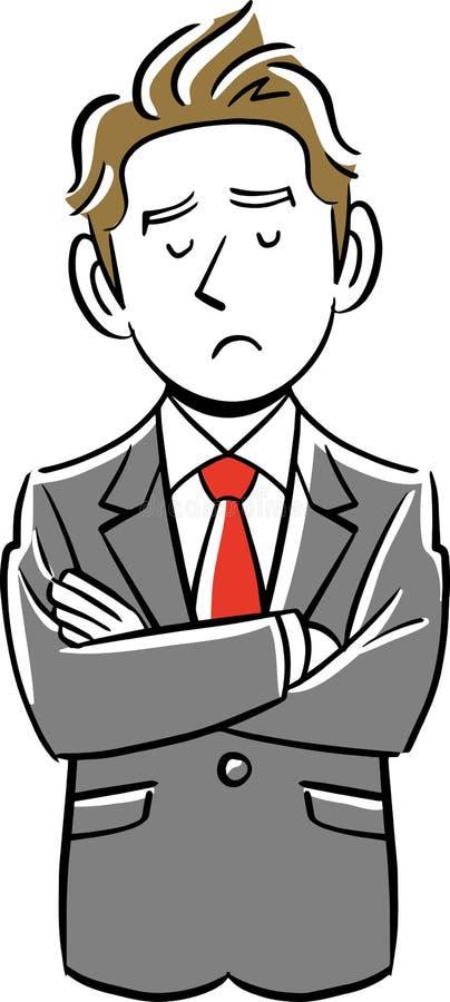 Бизнесмен имеет тревоги and serious бесплатная иллюстрация