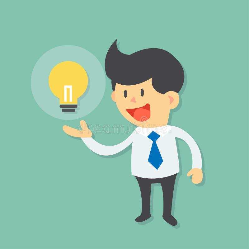 Бизнесмен имеет хорошую идею и уточняет его шарж идеи друг к другу бесплатная иллюстрация