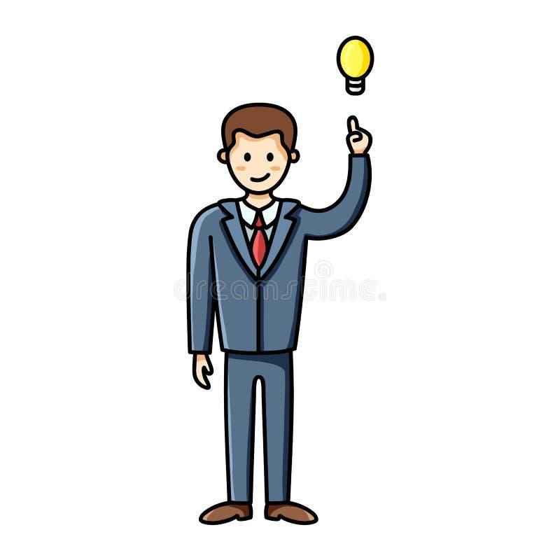 Бизнесмен имея идею и указывая палец до лампочки r Характер вектора иллюстрация вектора