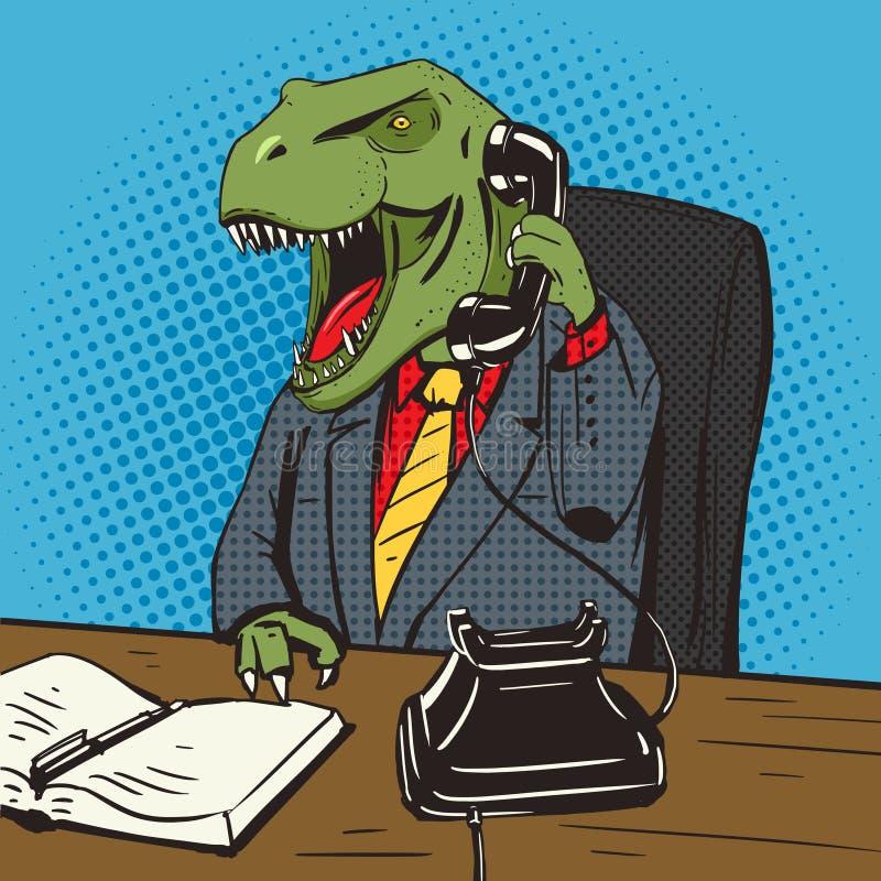 Бизнесмен динозавра говорит вектор искусства шипучки телефона иллюстрация вектора