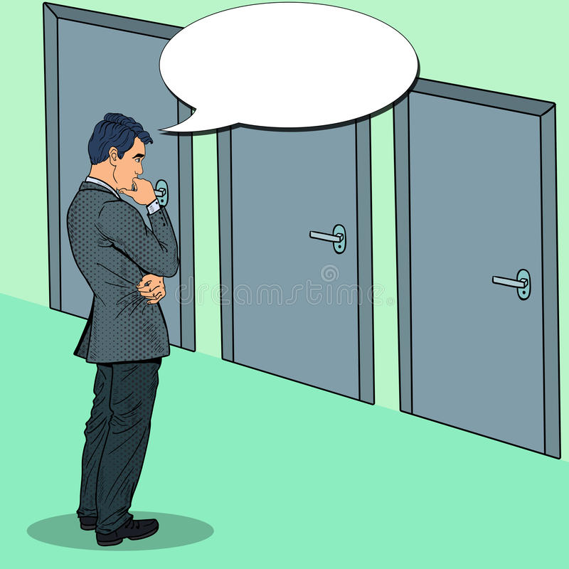 Бизнесмен искусства шипучки выбирая правую дверь бесплатная иллюстрация