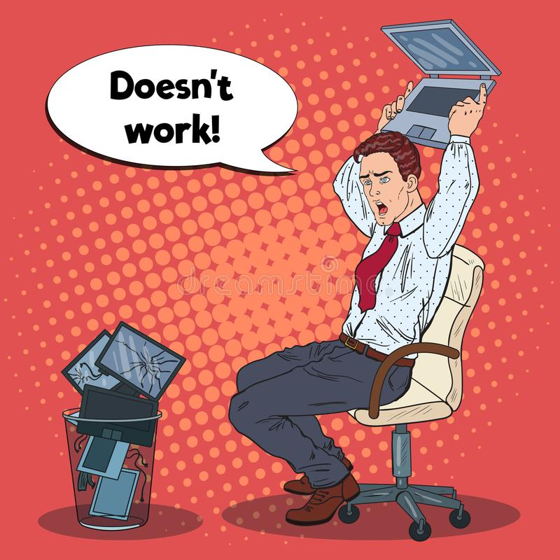 Бизнесмен искусства шипучки сердитый разбивает компьтер-книжка Стресс на конторской работе иллюстрация штока