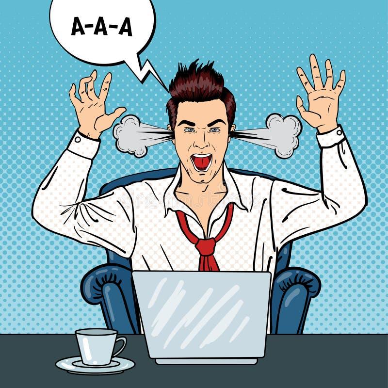Бизнесмен искусства шипучки сердитый крича при пар приходя из его ушей иллюстрация вектора
