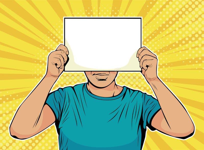 Бизнесмен искусства шипучки с чистым листом бумаги перед стороной иллюстрация вектора