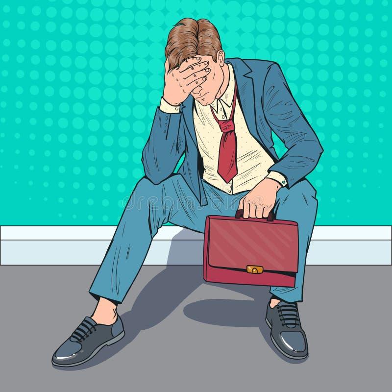 Бизнесмен искусства шипучки усиленный сидя на поле Утомленный разочарованный человек Работник офиса отчаяния иллюстрация штока