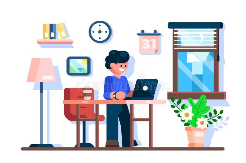 Бизнесмен используя компьтер-книжку на рабочем месте стола офиса бесплатная иллюстрация