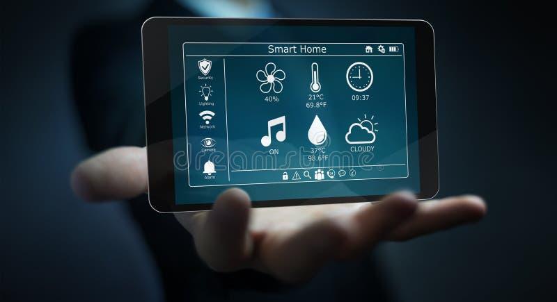 Бизнесмен используя умный домашний перевод удаленного устройства 3D иллюстрация штока