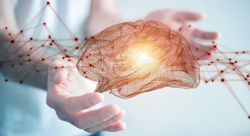 Бизнесмен используя цифровое renderi интерфейса 3D человеческого мозга рентгеновского снимка бесплатная иллюстрация