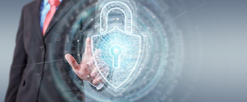 Бизнесмен используя цифровой интерфейс безопасностью padlock для защиты перевода данных 3D бесплатная иллюстрация