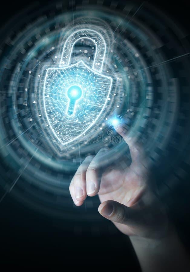 Бизнесмен используя цифровой интерфейс безопасностью padlock для защиты перевода данных 3D иллюстрация вектора