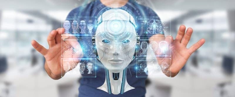 Бизнесмен используя цифровой интерфейс 3D r искусственного интеллекта бесплатная иллюстрация