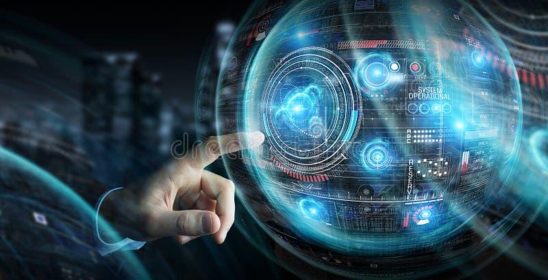 Бизнесмен используя цифровой технологический интерфейс с переводом данных 3D иллюстрация вектора