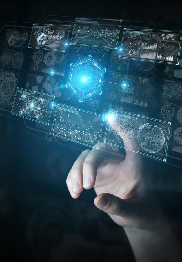 Бизнесмен используя цифровой технологический интерфейс с переводом данных 3D бесплатная иллюстрация