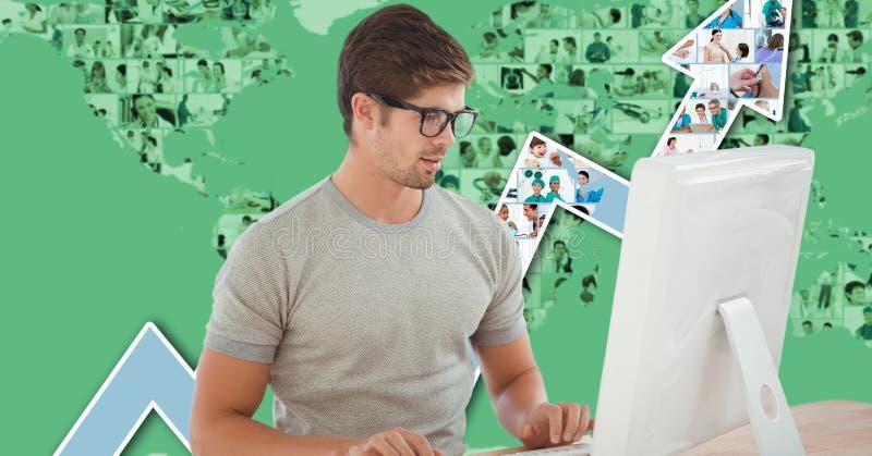 Бизнесмен используя компьютер против диаграммы стоковые фото