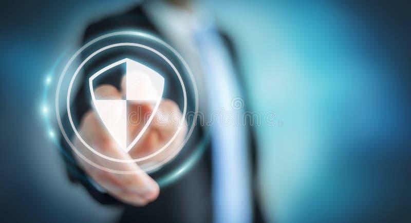 Бизнесмен используя предохранение от экрана безопасное для того чтобы защитить его данные 3D иллюстрация вектора