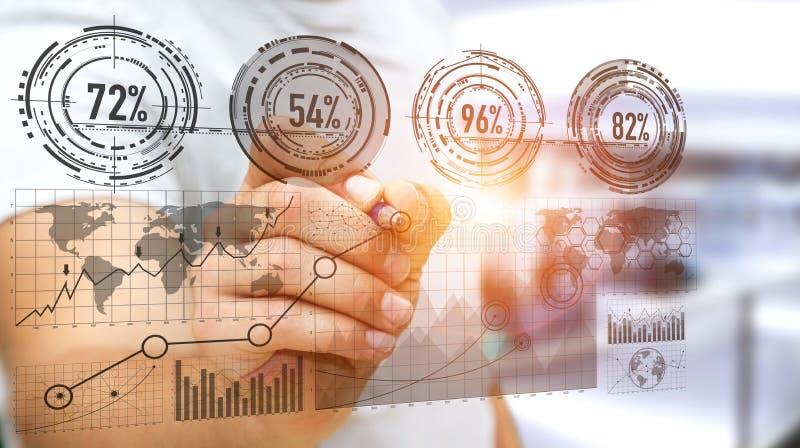 Бизнесмен используя цифровой интерфейс диаграммы с rende ручки '3D иллюстрация вектора