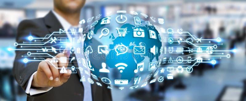 Бизнесмен используя цифровой мир с значками сети иллюстрация штока