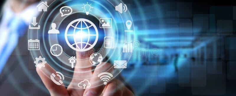 Бизнесмен используя цифровой тактильный интерфейс экрана с значком сети иллюстрация штока