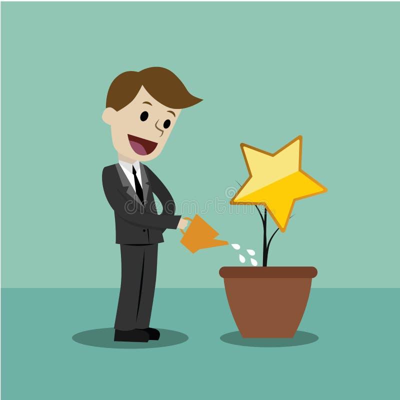 Бизнесмен ища успех роста Рост диаграммы и концепция успеха иллюстрация вектора