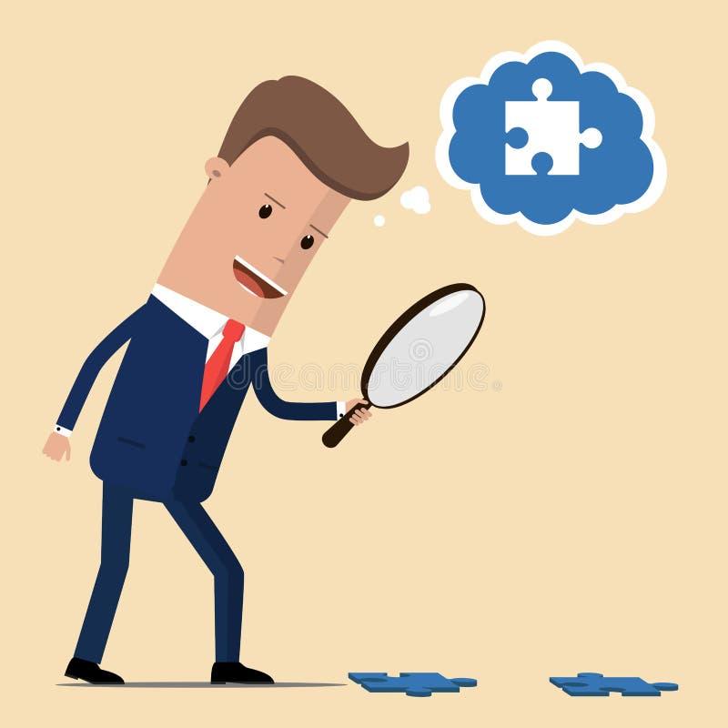 Бизнесмен ищет необходимый кусок головоломки используя лупу Концепция обнаружения решения к a иллюстрация вектора