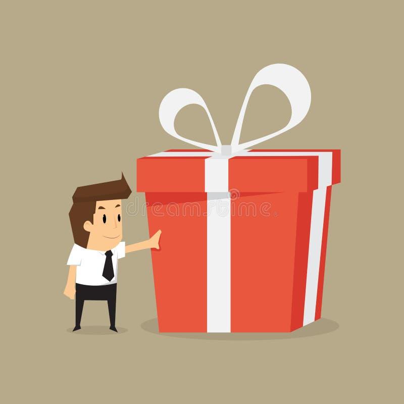 Бизнесмен и большая подарочная коробка иллюстрация вектора