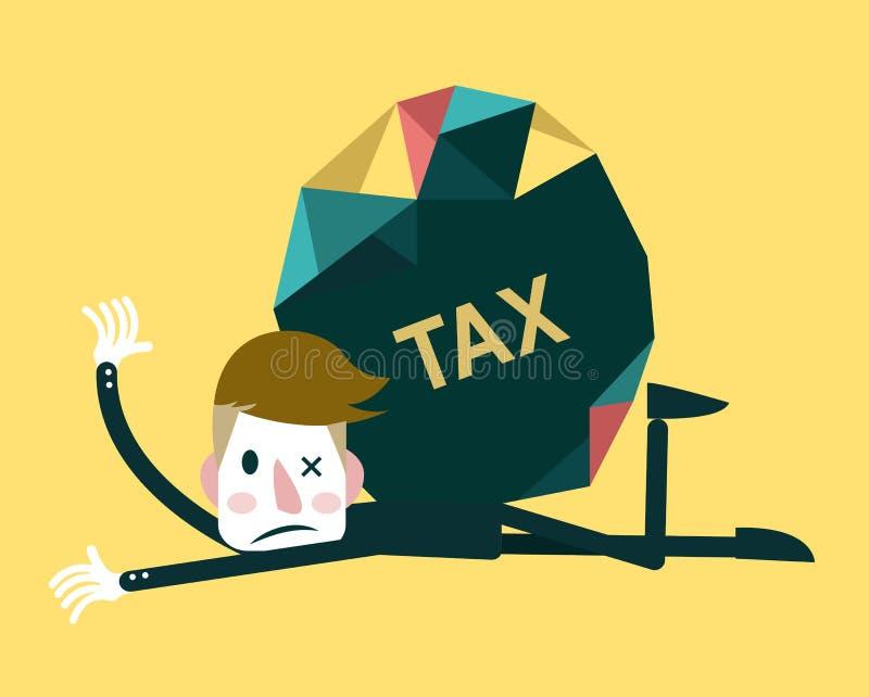 Бизнесмен и бремя налогового обложения иллюстрация штока