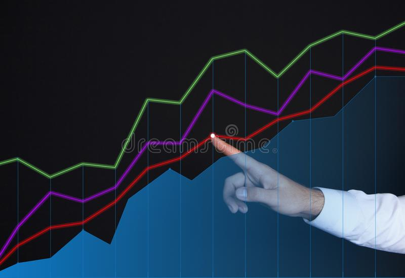 Бизнесмен и графики иллюстрация вектора